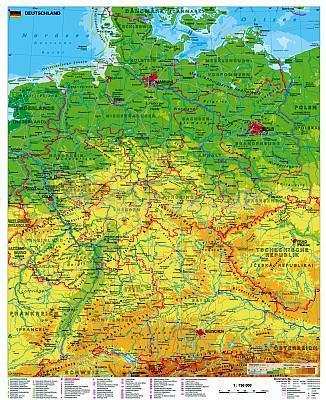 stiefel deutschlandkarte 97 x 119 cm als Poster Stiefel EUROCART Deutschlandkarte